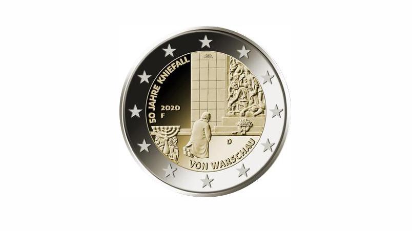 Zwei-Euro-Gedenkmünze für Kniefall in Warschau